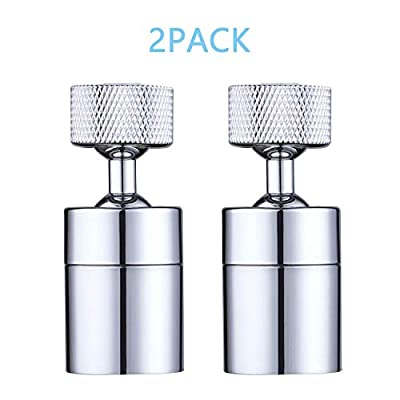 2 Pack Faucet Aerator, Hibbent 80-degree Rotate Dual-function Kitchen Sink Faucet Aerators, 360-Degree Swivel Water Saving Tap Aerator Diffuser Faucet Sprayer-55/64 Inch-27UNS Female Thread-Chrome