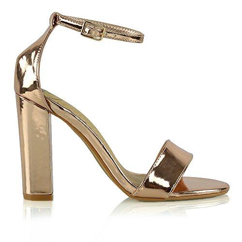 ESSEX GLAM Sandalo Donna Peep Toe Tacco a Blocco Cinturino Caviglia (UK 5 / EU 38 / US 7, Rosa Oro Metallizzato)