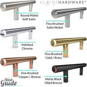 "10pc SOLID Stainless Steel, Bar Handle Pull: Fine-Brushed Satin Nickel Finish | 3"" Hole Center | Kitchen Cabinet Hardware / Dresser Drawer Handles By: Alpine Hardware"
