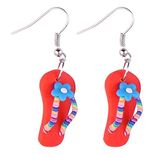 JOE COOL Drop Ohrring Flip Flop mit Blume (rot) mit Kunstharz hergestellt