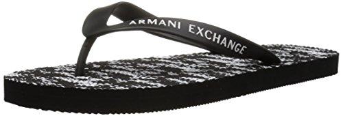 AX Armani Exchange Chanclas estampadas para hombre, negro (Logotipo todo en negro.), 43 EU