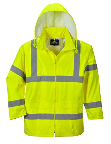 Portwest Waterproof Rain Jacket, Lightweight, Yellow, Medium