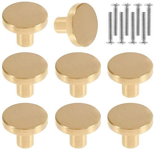 Lot de 8 Boutons de Porte Boutons d'armoire Ronds en Laiton Massif Poignées Rondes de Meuble Vintage avec Vis pour Armoire Placards Tiroirs 20 x 25mm (8Pcs)