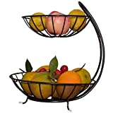 Hualieli Frutero de Metal, 2 Niveles de frutero, Color Negro, Estilo Vintage, Soporte de Venta para Frutas y Verduras, Soporte para Frutas con Cuencos, Mantiene Frescos Frutas y Verduras