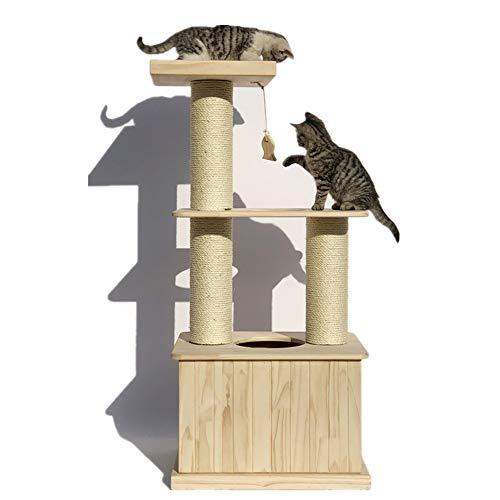 Kratzbaum Bergsteigen Zentrum Innen Katze Spielzeug Katze Hauskatze Turm Raumkapsel Aktivitäten Mit Dem Katzenkratzmöbel (Color : Natural, Size : 36x36x60cm)