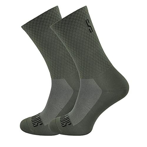 SUPPORT Calcetines de Ciclismo para Hombres tecnología Transpirable Fibra Antideslizante Divertidos Unisex Ciclistas para Senderismo, Caminata, Escalada, Ciclismo, Olive's 45-46 EU