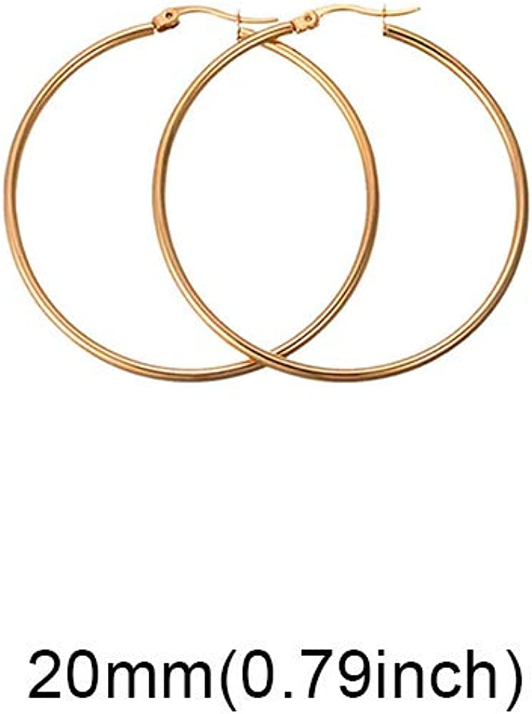 Lokaerlry Fashion Bohemia Stainless Steel Hoop Earrings 4 Colors Hyperbole Circle Earrings