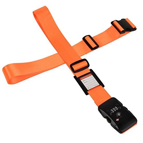 クロース(Kroeus)スーツケースベルト TSAロック ネームタグ 2個セット 十字 長さ調整可 トランクベルト 一字型ベルト 旅行 出張 オレンジ