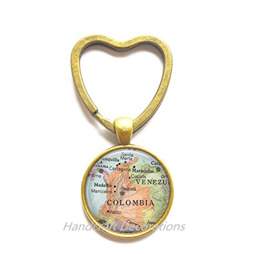 Charming Heart Keychain Colombia map Key Ring, Colombia map Heart Keychain, Colombia Key Ring, Colombia Heart Keychain map jewelry travel map,A0045