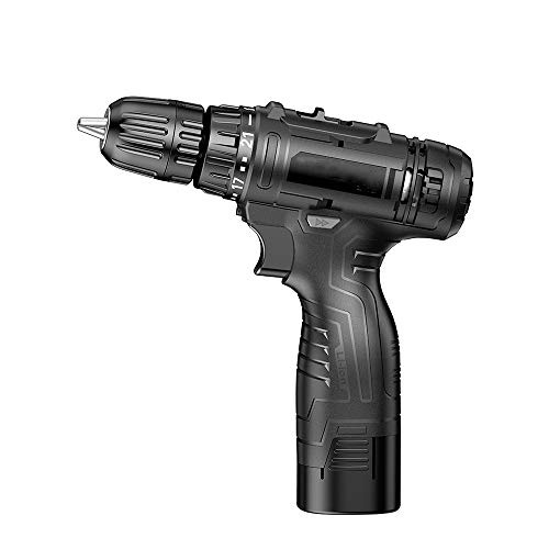 LZ Rechargeable Small Hand Drill, 18-Speed Torque Large-Capacity Battery, infinitely Variable Speed and Strong Power, Suitable for Punching Walls or Home Decoration Black Belt Toolbox.