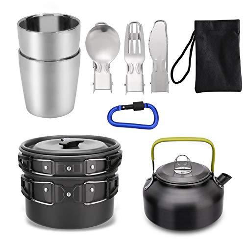 Mokoala Camping Cookware Kettle Pot Pan Mess Kit, 10Pcs Lightweight...