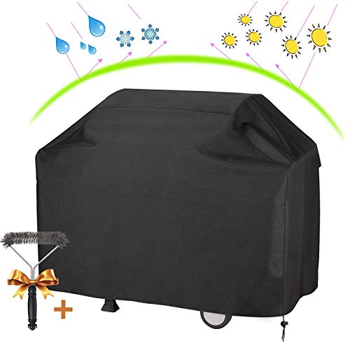 """UKEER Barbecue Cover BBQ Gas Grill Cover Waterproof Heavy Duty Cover Anti-UV Outdoor with Barbecue Cleaning Brush (L:57"""" W: 24"""" H:46"""") for Weber, Brinkmann, Char Broil etc Covers Grill"""