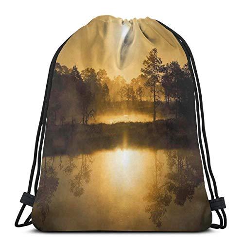 DPASIi Drawstring Shoulder Backpack Travel Daypack Gym Bag Sport Yoga,Idyllic Sunrise in The Bog with Tree Reflections On Lake Misty Magical Morning Scenery,5 Liter Capacity,Adjustable.