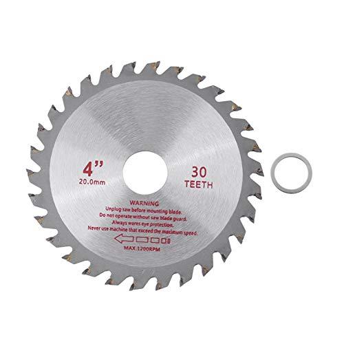 Hoja de sierra, 4 pulgadas, 30 dientes de carburo cementado, hoja de sierra circular, herramienta de corte de madera, diámetro de orificio 20 mm, para herramientas rotativas para trabajar la madera