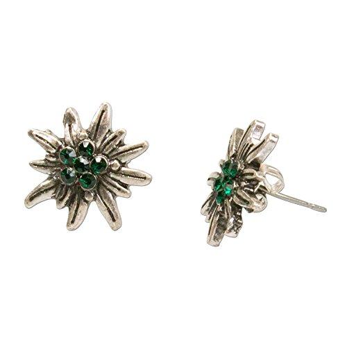 Alpenflüstern Trachten-Ohrstecker Strass-Edelweiß mini - Damen-Trachtenschmuck, Trachten-Ohrringe antik-silber-farben mit Strass-Steinen grün DOR033