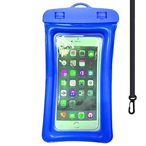 Bolsa impermeable universal impermeable para teléfono móvil, bolsa de natación impermeable, apto para pantallas de debajo de 6 pulgadas, 21 x 10,5 cm, color azul