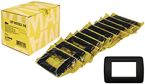 Vimar 0T16763.16 Idea Placca Rondò 3 moduli in tecnopolimero, 10 pezzi, nero