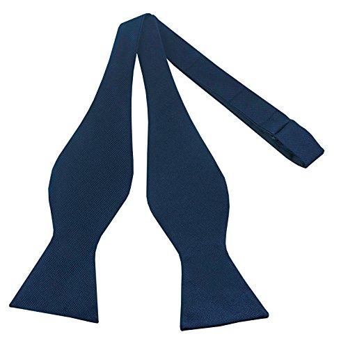 100% Silk Navy Blue Bowtie Self Tie Bow Tie by John William Bow Ties for Men