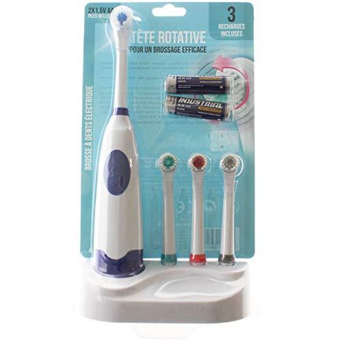 Brosse à dents électrique verte + 4 têtes avec piles
