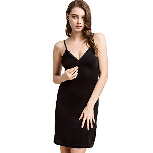 Hoffen Damen 100% Seide Unterkleid Minikleid ¡§?ber Knie Unterkleider mit Bra (XXL, Schwarz)