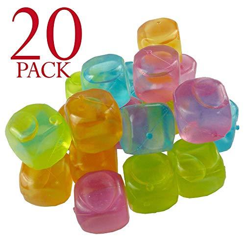 Cubetti di ghiaccio multicolore riutilizzabili per raffreddare le bevande., plastica, confezione da 20
