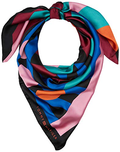 Tommy Hilfiger Damen TOMMY FUN SQUARE Schal, Mehrfarbig (Multi 0hi), One Size (Herstellergröße:OS)
