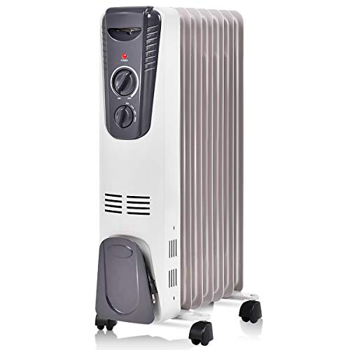 Tangkula Electric Oil Heater, 1500W Home Office Bathroom Portable Adjustable Thermostat Radiant Heater with Wheels, Tip-Over and Overheating Protection, Space Heater
