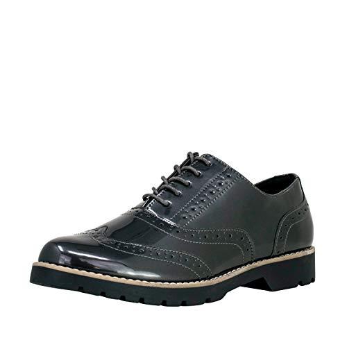 Fitters Footwear That Fits Damen Schnürer Isabelle Lederimitat Schnürer Lack Business Broque Übergröße (44 EU, grau)