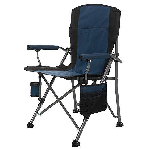 Outdoor Folding Camping Stuhl Sport Directors Chair High Back Support 145kg Starker Hochleistungs-gepolsterter & Stahlrahmen, mit Cup-Halter und Magazin-Tasche, Angelgarten Camping Eventstuhl