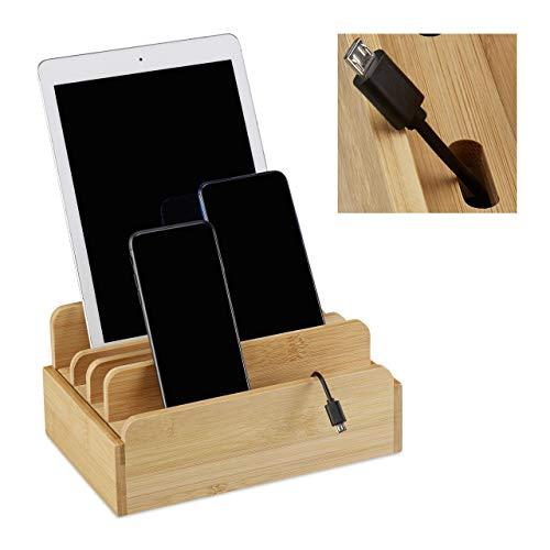 Relaxdays Ladestation Bambus, für mehrere Geräte, Tablet & Smartphone, Kabelbox Organizer, HxBxT: 10 x 22,5 x 15, natur