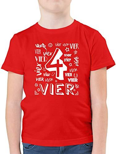 Kindergeburtstag Geschenk - 4. Geburtstag Zahlen - 116 (5/6 Jahre) - Rot - Geburtstag 4 Jahre Shirt - F130K - Kinder Tshirts und T-Shirt für Jungen