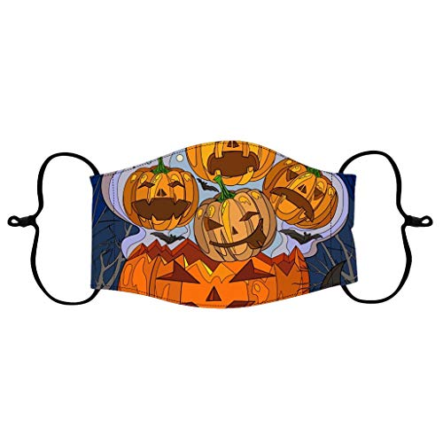 QAQQQQ Halloween Adult Face_Mask - Halloween Pumpkin Print Mouth_Cover Reusable Facial Decorative Breathable Protection