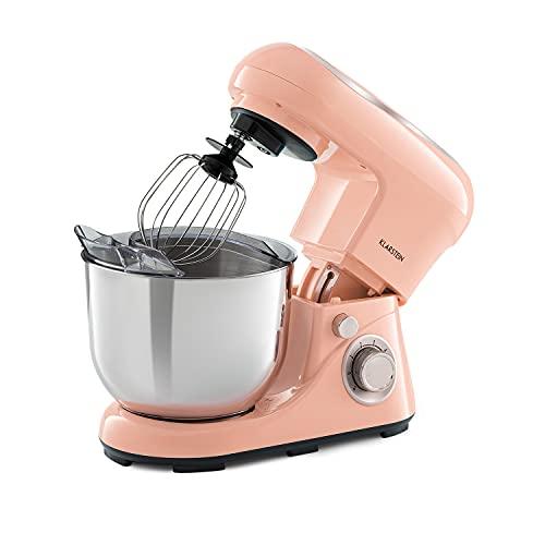 Klarstein Bella Pico 2G - robot de cocina, mezclador de alimentos, 1300 W, 6 niveles con efecto pulso, sistema de rotación planetaria, cuenco de 5 litros de capacidad, 3 piezas, rosa