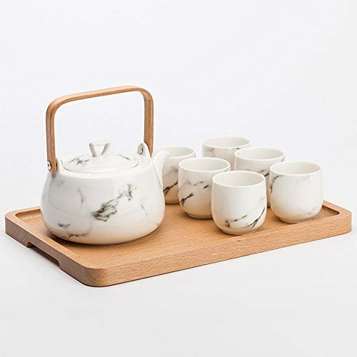 Why Choose Japanese Classic White Ceramic Tea Set, New Chinese Marble pattern tea set Tea kettle woo...