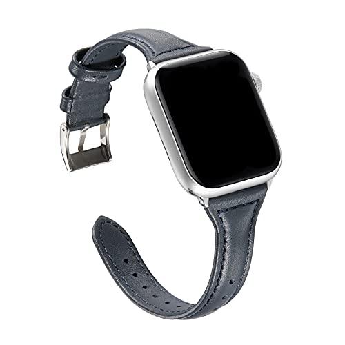 Compatible con Apple Watch Correa 42MM Serie 3/2/1 Cuero Hombre, Mujer Business Bande Reemplazo Respirable Cuero Pulseras de Repuesto Wrist Strap Sport Loop Compatible con iWatch 44MM SE Serie 6/5/4