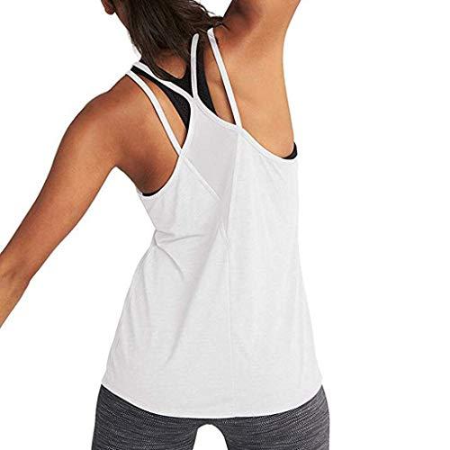 Camiseta Sin Mangas Mujer SHOBDW 2020 Nuevo Playa de Verano Deporte Camisetas Mujer Tirantes Baratas Yoga Sexy Activewear Mesh Backless Fitness Racerback Tops Blusa Tallas Grandes(Blanco,L)