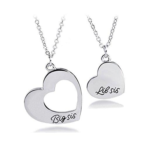 KUIYAI 2pcs Big Sis Lil Sis Love Heart Necklace Set for Sister Best Friends (2 Sisters)