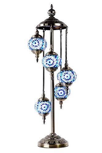 Marrakech Turkish Floor Lamp Mosaic Glass 5 Globes Bedside Floor Lamp Moroccan Tiffany Style Decorative Lantern Night Light for Living Room Bedroom (Blue)