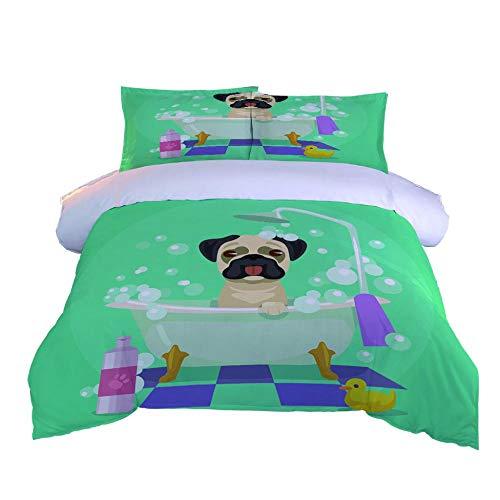 DJDSBJ Duvet covers king size beds Printing Green bathing dog 240x220cm + 2 pillowcases.