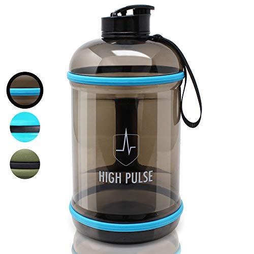 High Pulse® XXLWaterJugmit Trinkaufsatz (2,2 l) – Die auslaufsichere Trinkflasche mit Handgriff ist der ideale Begleiter für Ihr Fitness- und Krafttraining (Schwarz)