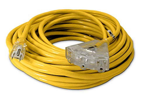 75-ft 12/3 Heavy Duty 3-Outlet Lighted SJTW Indoor/Outdoor Extension Cord by Watts Wire - Yellow 75 12-Gauge Grounded 15-Amp Three-Prong Power-Cord (75 foot 12-Awg)