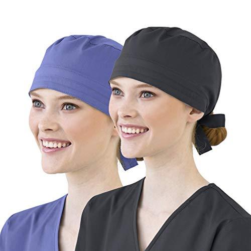 riou 2 PC Gorro Quirófano Algodón Ajustable Médico Enfermera Sombrero Reutilizable Gorro de Cirugía para Pelo Largo Corto Gorro de Trabajo