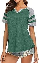 Womens Casual Summer T-Shirt,Raglan Short Sleeve V-Neck Patchwork Stripe Baseball Shirt Blouse Green