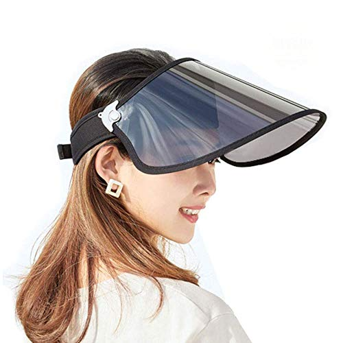 Miuphro サンバイザー UVカット 帽子 紫外線対策 日焼け対策 UPF50+ 晴雨兼用 レインバイザー レインハット つば広 超ワイド キャップ 雨よけ 自転車用 ずれない ブラック