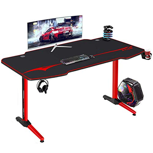 Furniwell 55 Inch Gaming Desk Racing Computer Desk Game Table Gamer Workstation Home Office Table T-Shaped with Free Mouse Pad,Gaming Handle Rack, Cup Holder and Headphone Hook (55 Inch)