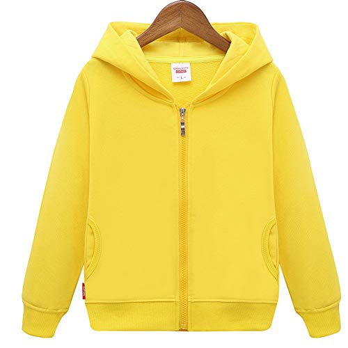 HAXICO Unisex Children Solid Zip-Up Hooded Sweatshirt Toddler Baby Boys Girls Classic Hoodie Cotton Tops Blouse Yellow
