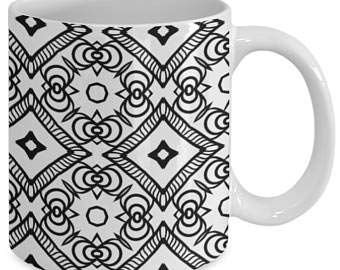 Taza de café con diseño de mandala, para adultos, color me, taza de café, diseño de mandala, color me, 58