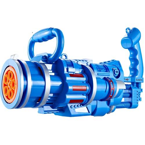 QZH 1pc, Gatling Electric Bubble Gun, Pistola de Burbujas para niños Juguetes al Aire Libre para niños y niñas,Azul