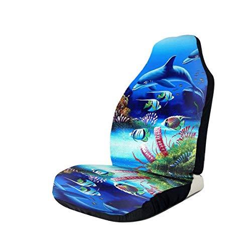 Fundas para asientos de automóvil Beautiful Underwater World Dolphins Fundas para asientos de automóvil con estampado de coral Los asientos delanteros se adaptan a la mayoría de los automóviles