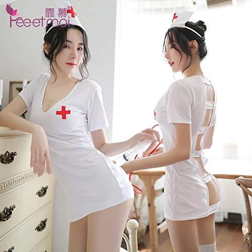 YINSHENG Mujeres Sexy traviesas Chicas de Secundaria Disfraces Fiesta de Disfraces Ropa Interior lencería Sexy con Cuello en v Espalda Hueca Ropa de Enfermera Sexy Uniforme de Mujer Vestido